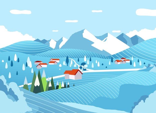 背景の平らなイラストに山と冬の田園風景。