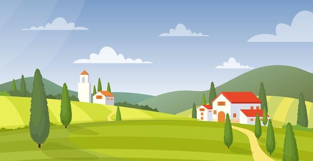 田園風景のパノラマ田園地帯の家の外観。自然のコテージ。カントリーヴィラ。