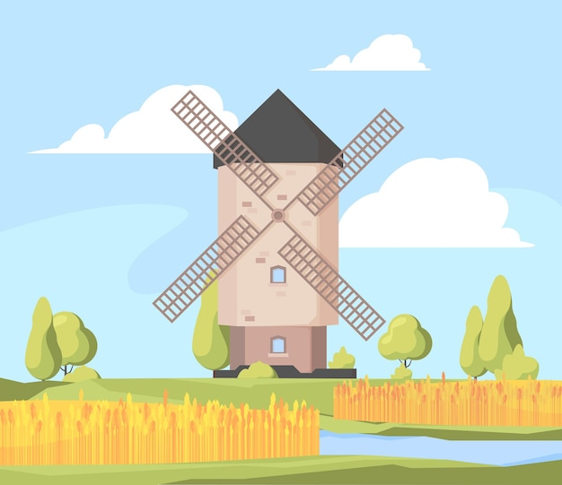 田園風景風車。成長している麦畑と作業風車ベクトル漫画イラストと農場の背景。農場の風車の風景、田園風景とフィールド