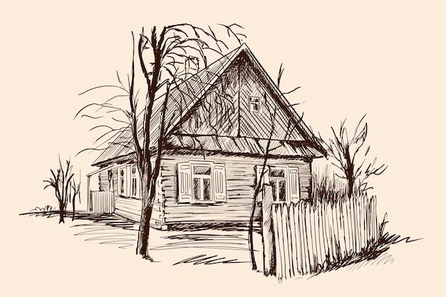 古い木造家屋と壊れたフェンスのある田園風景。ベージュ色の背景に手スケッチ。
