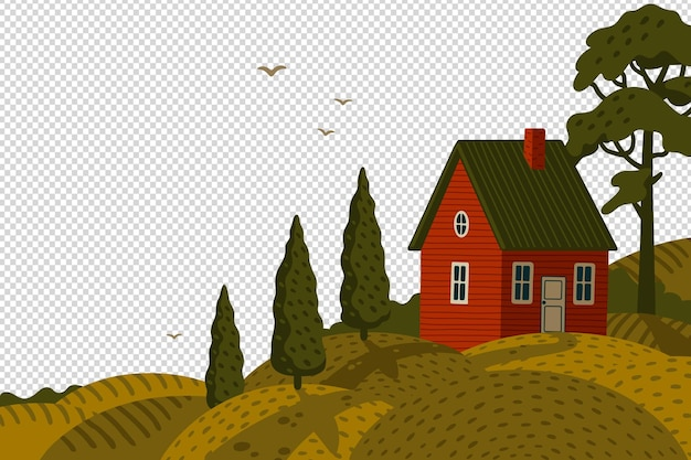 Rural landscape with barn house in rustic style on a green field with cypresses
