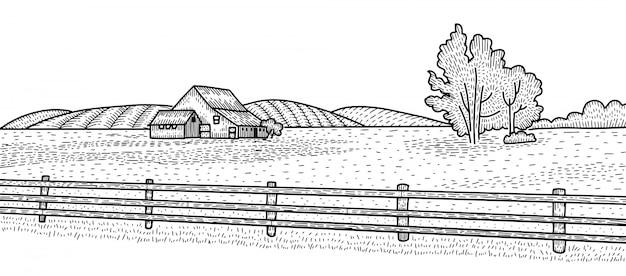 Сельский пейзаж с загородного дома. сельской местности рисованной гравировки стиль иллюстрации. эскиз злодеев
