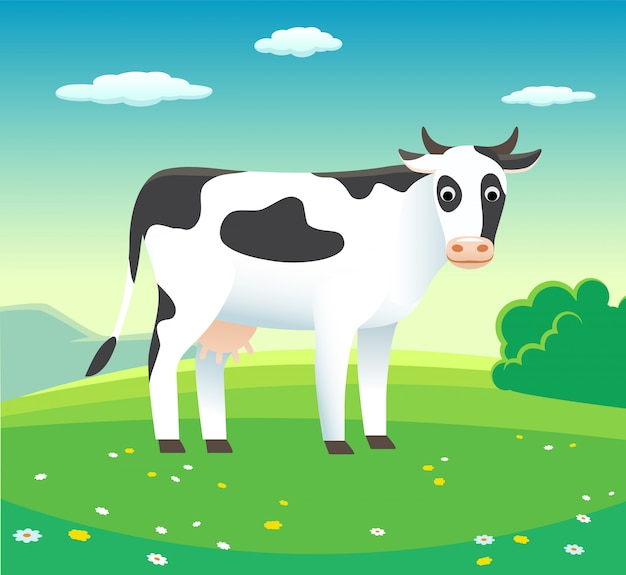 Rural landscape with cow in meadow,  - background illustration for dairy products