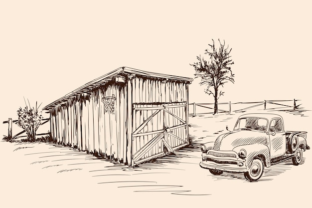 Rural landscape with a farm wagon next to an old barn with a closed gate. hand sketch on a beige background.