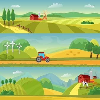 畑や丘、農場のある田園風景。農業およびアグリビジネス農業。農村景観テンプレート。インフォグラフィックとwebのデザイン。