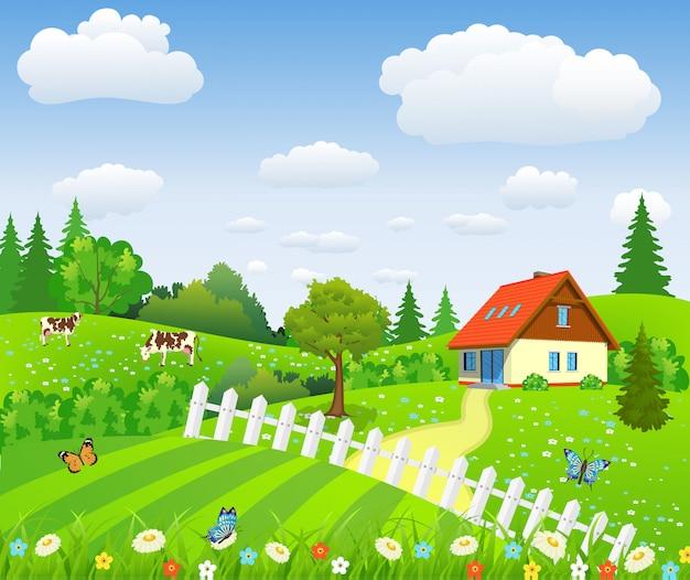 畑と丘のある田園風景