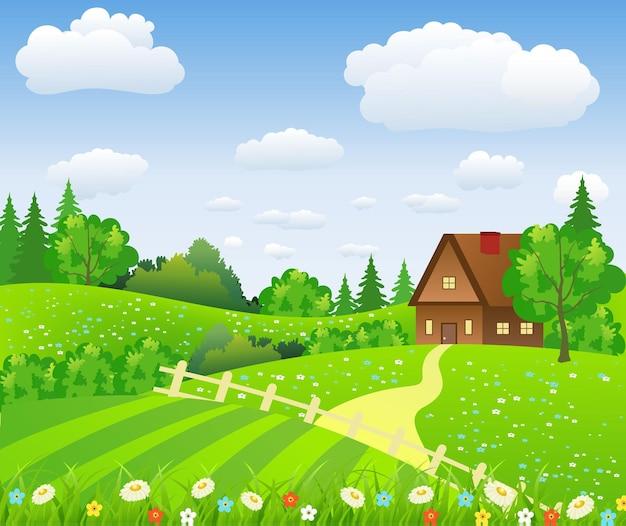 野原と丘のある田園風景と野原と丘。