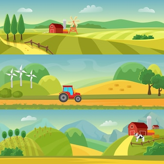 Rural landscape with fields and hills and with a farm. agriculture and agribusiness farming. rural landscape templates. design for infographic and web.