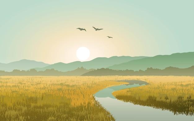 丘と小川のある田園風景