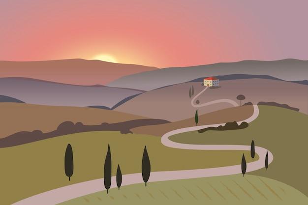 山と丘の田園風景