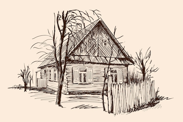 Rural landscape with an old wooden house and a broken fence. hand sketch on a beige background.