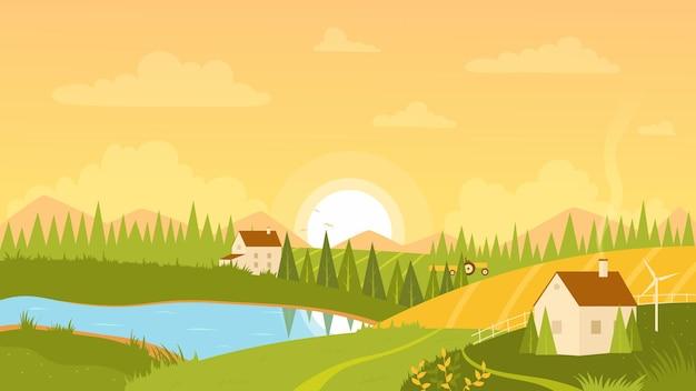 日の出のイラストと田園風景