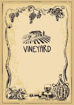 Rural landscape with villa vineyard fields bunch grapes bottle glass jug of wine vintage engraving
