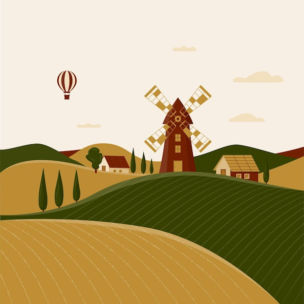 Rural landscape with windmill and farmhouses