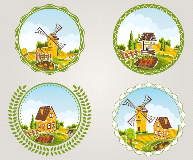 Набор этикеток сельских пейзажей с символами деревни и полей, изолированных иллюстрация