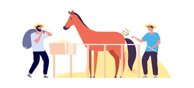 田園生活。農民は干し草、平らな馬の囲いを収穫します。ポニーと孤立した農業労働者。秋の収穫時間ベクトルイラスト。農家の馬の農業、動物農場の国