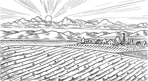 田舎の牧草地。丘と農場のある村の風景。日当たりの良い風光明媚なカントリービュー。手で書いた