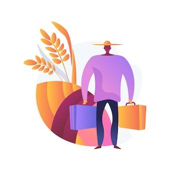 Illustrazione di vettore di concetto astratto di migrazione rurale. flussi migratori rurali-urbani, movimento delle persone, sviluppo dell'agricoltura, crescita della popolazione, spostamento in città, metafora astratta dell'urbanizzazione.