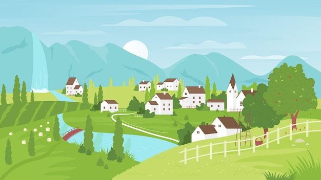 Rural mountain landscape village farm land field with grazing sheep road to houses