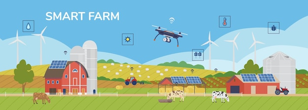 Rural panorama scenery with solar panels