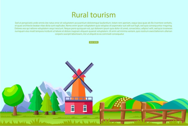 Rural tourism promotion poster with big mill