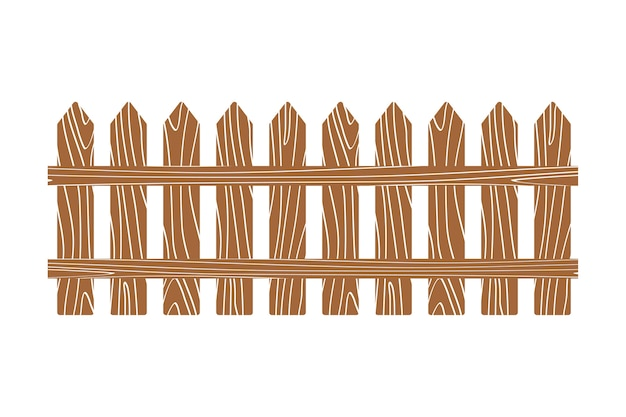 Rural wooden fence vector illustration white