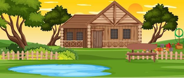 농촌 목조 주택 야외 풍경