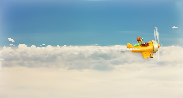 Rush after own dream, funny cartoon aviator in the sky,  illustration