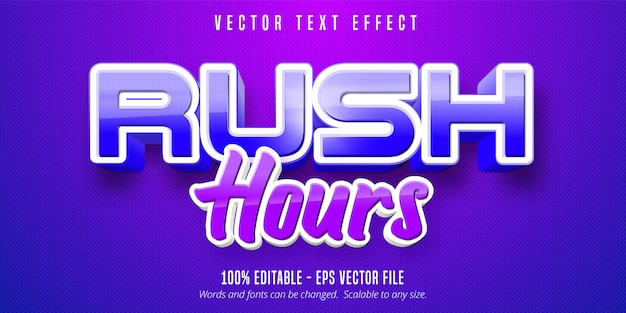 Rush hours text, game style editable text effect