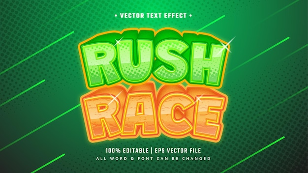 Rush race gaming 3d text style effect. editable illustrator text style.