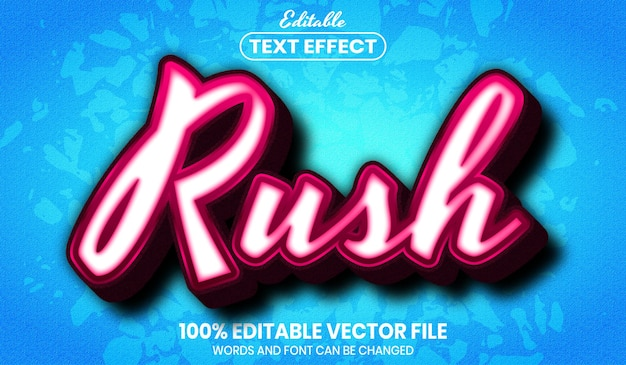 Rush text, font style editable text effect