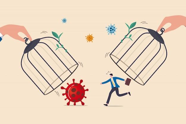 Спешить возобновить бизнес после того, как вспышка коронавируса covid-19 слишком рано, не будет безопасна и соответствовать концепции вспышки 2-ой волны, открыв клетки вручную, бизнесмен отправится на работу, чтобы встретиться с патогенами коронавируса.
