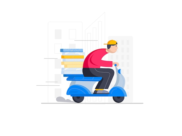 Rushing pizza delivery boy on the scooter