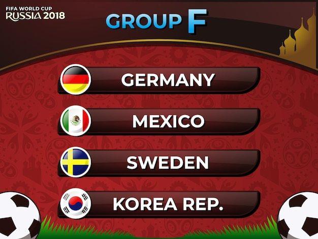 Russia 2018 fifa world cup group f nations football team