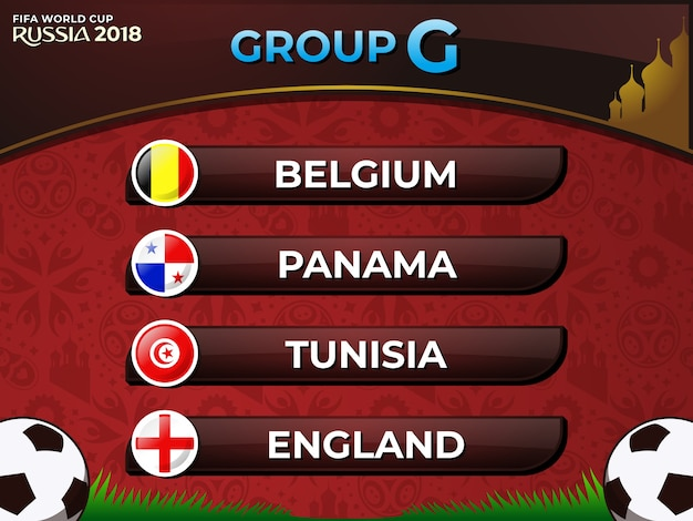 Russia 2018 fifa world cup group g nations football team