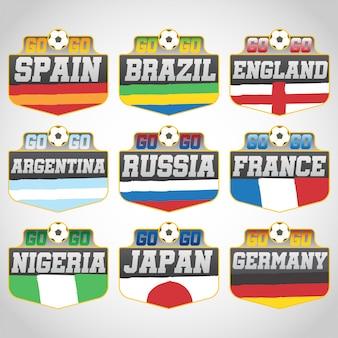 ロシア2018年ワールドカップサッカーバッジベクトル