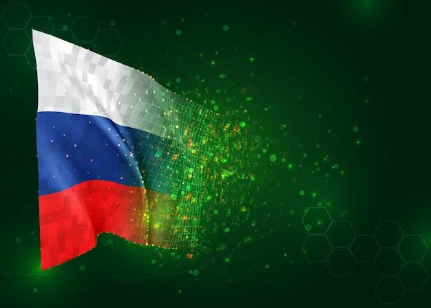 Россия, 3d флаг на зеленом фоне с многоугольниками