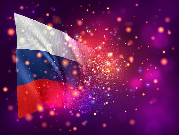 Россия, 3d флаг на розовом фиолетовом фоне с освещением и вспышками
