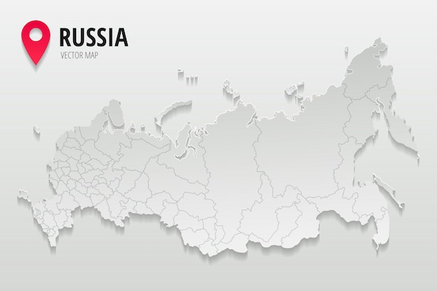 Russia administrative map with borders of regions trendy paper style isolated on gradient background.  illustration Premium Vector