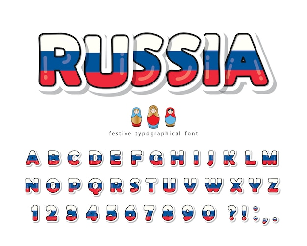Russia cartoon font. russian national flag colors.