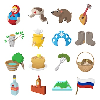 Russia cartoon icons set isolated vector