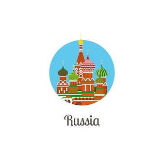 Russia cathedral landmark isolated round icon
