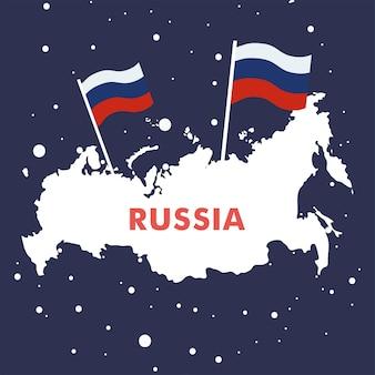 День празднования россии с картой и флагами