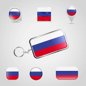 Россия флаг страны на брелках и карта булавки разных стилей