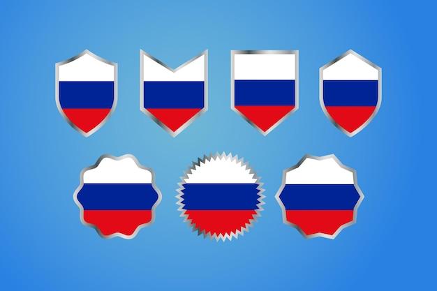 銀のボーダーバッジが付いているロシアの国旗