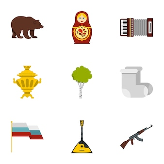 Russia country symbols icon set, flat style