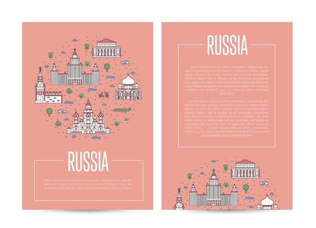 Russia country traveling advertising template