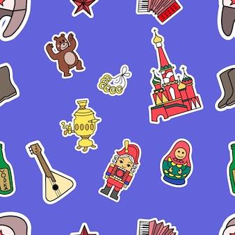 Россия культура doodle графический бесшовный узор