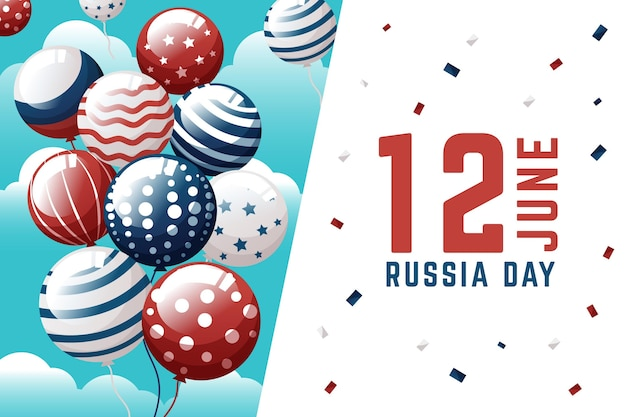 Russia day background with balloons theme
