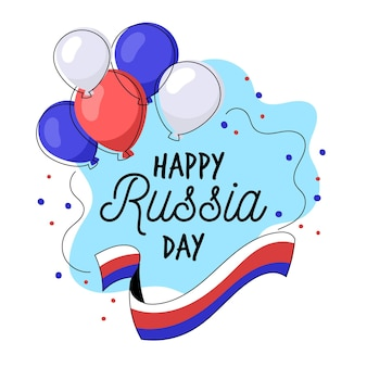 Russia day background with balloons